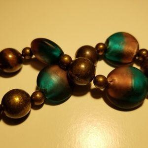Green and Bronze antique glass elastic bracelet